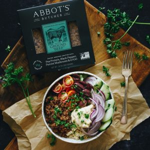 abbots butcher bowl with beef red onion tomato cucumber parsley rice olives