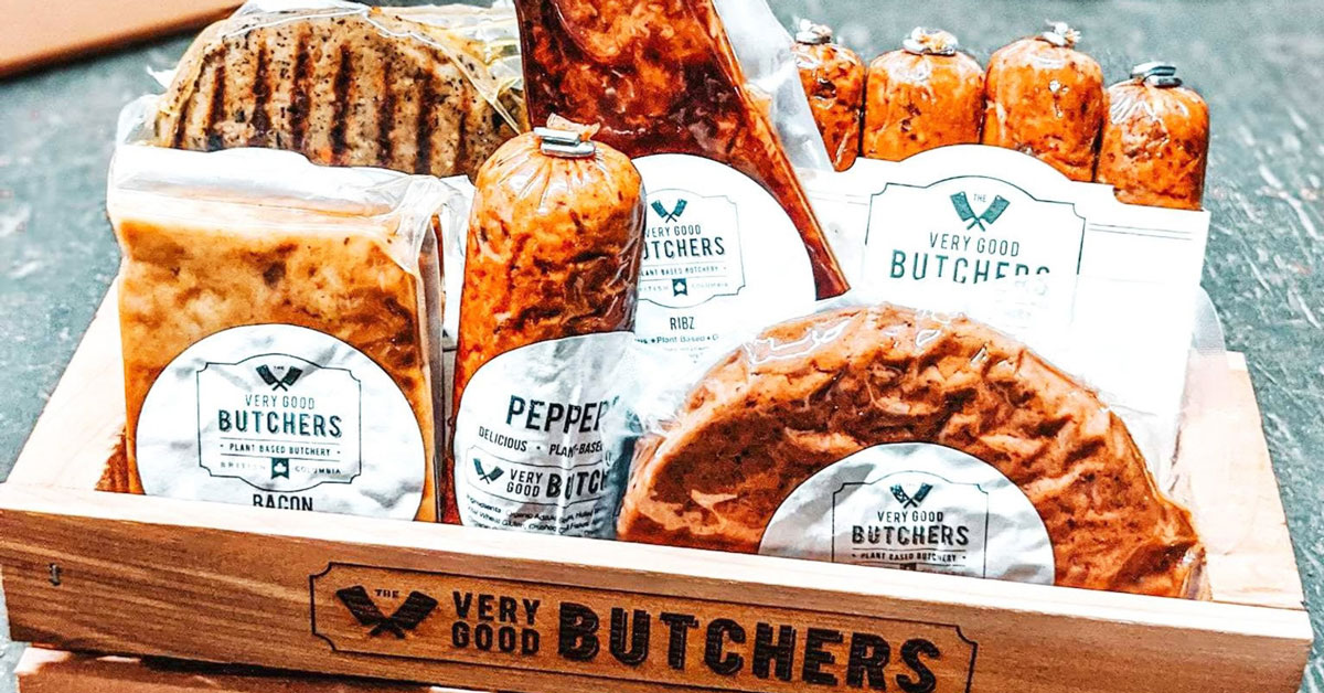 Very Good Butchers box of products with pepperoni bacon ribs sausages and burgers