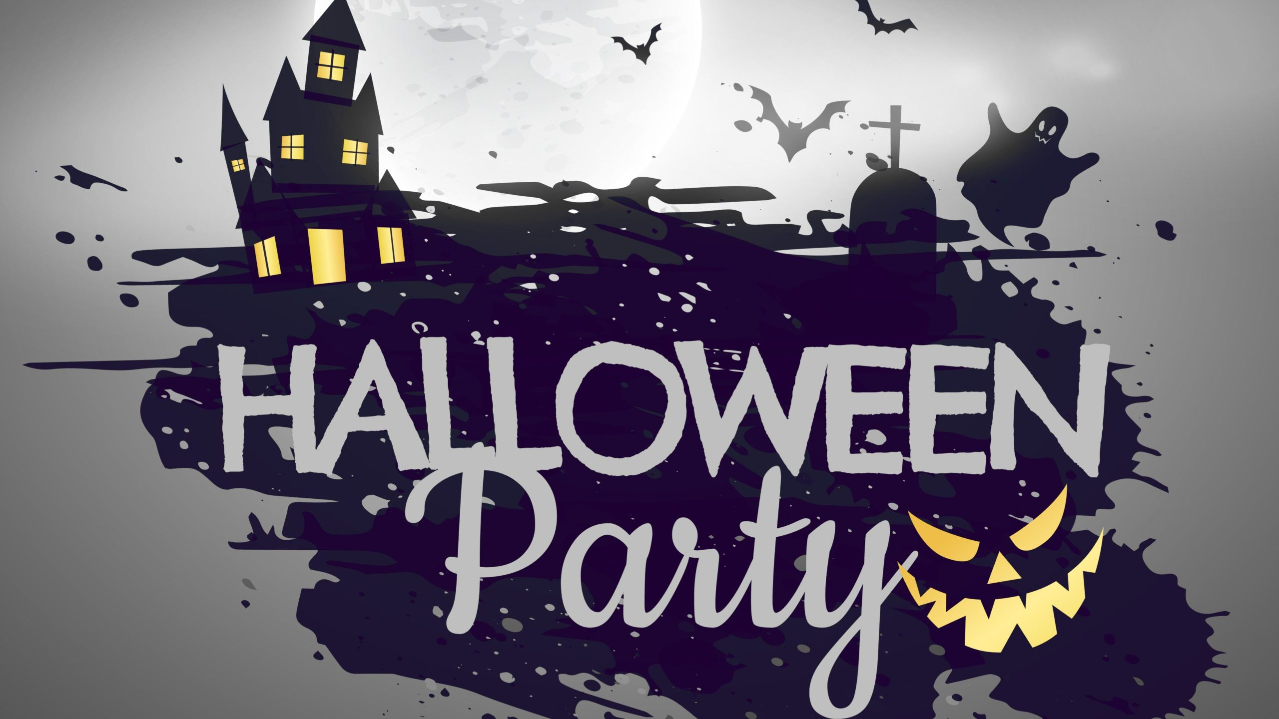 halloween party spooky haunted house jackolantern ghost bats and cemetery