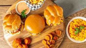 Solár: A Vegan Eatery mac and cheese burgers fries sauce nuggets and buffulo cauliflower