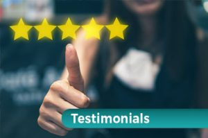 five stars testimonials woman out of focus thumbs up