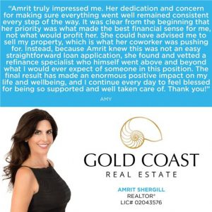 client testimonial by amy for amrit shergill realtor at gold coast real estate