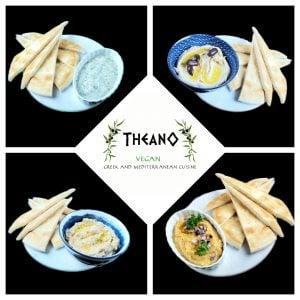 hummus baba ganoush fava melitzanosalata dips with pita bread and garnishes from Theano vegan greek and mediterranean cuisine