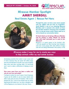 RErescue real estate agents to the rescue member spotlight Amrit Shergill with photos of Amrit holding small dog