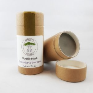two tubes of newport's natural deodorant lavender and tea tree in natural packaging